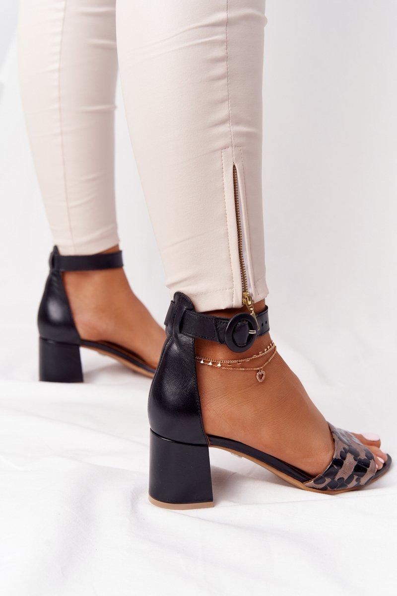 Leather High Heel Sandals Maciejka 04141-46 Black-Gold
