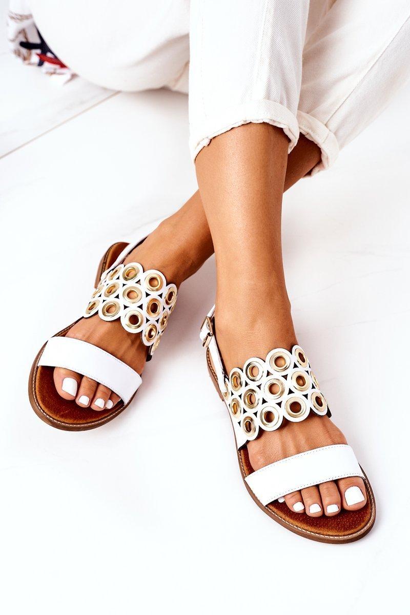 Leather Openwork Sandals Lewski Shoes 3042 White