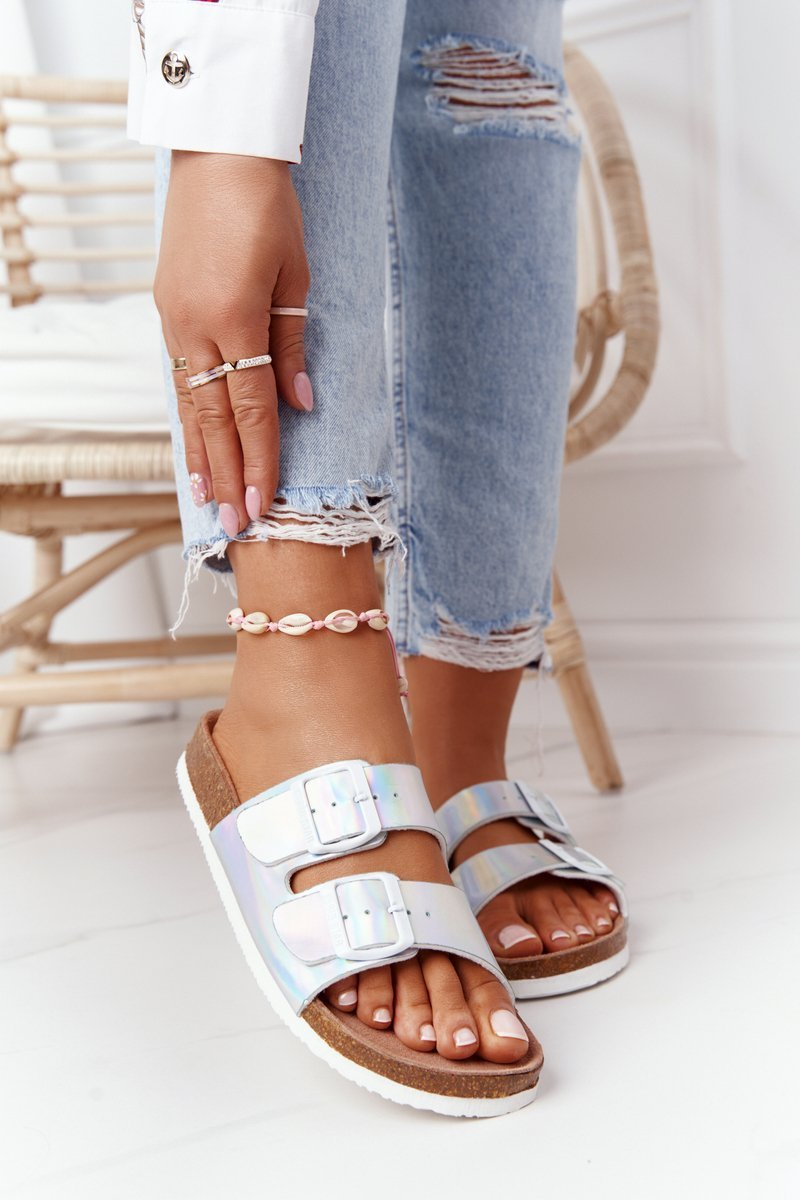 Leather Profiled Slippers Big Star HH274895 Silver