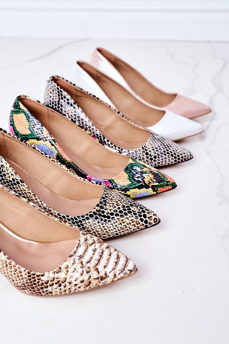 Leather Pumps With A Snake Pattern Lewski Shoes 2801 Colorful