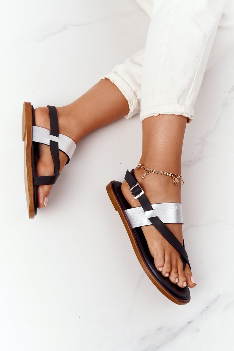 Leather Sandals Flip-flops Big Star HH274712 Black-Silver
