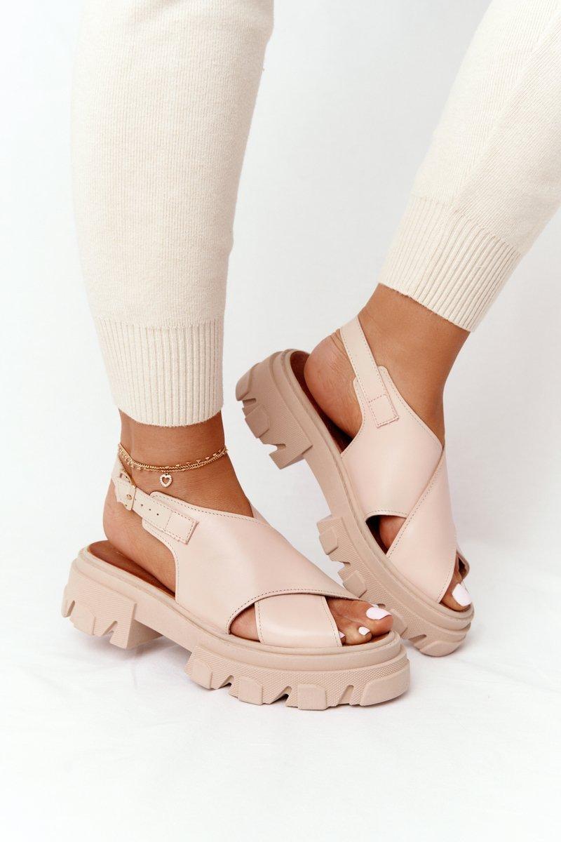 Leather Sandals On The Platform Lewski Shoes 3018-0 Beige