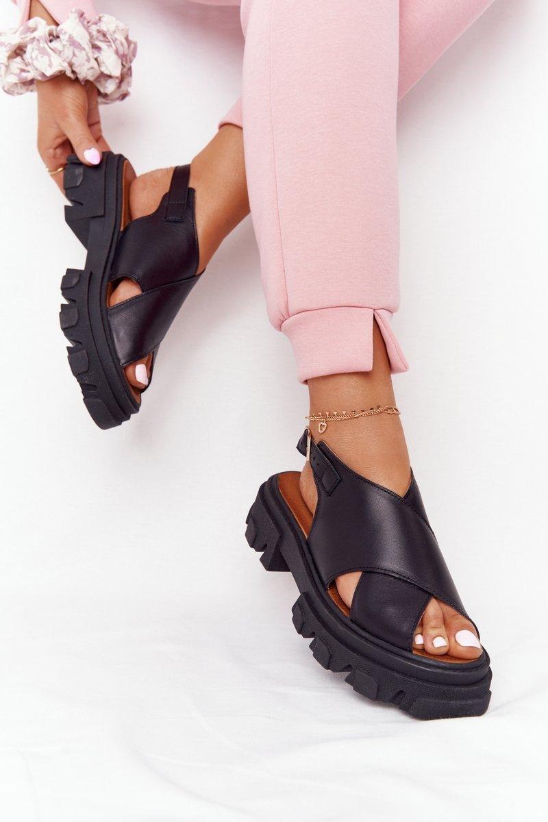 Leather Sandals On The Platform Lewski Shoes 3018-0 Black