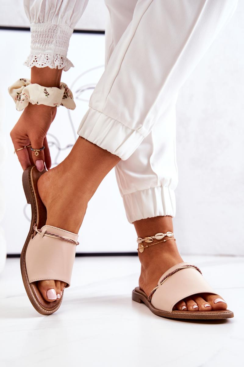 Leather Slippers Lewski Shoes 3047 Beige
