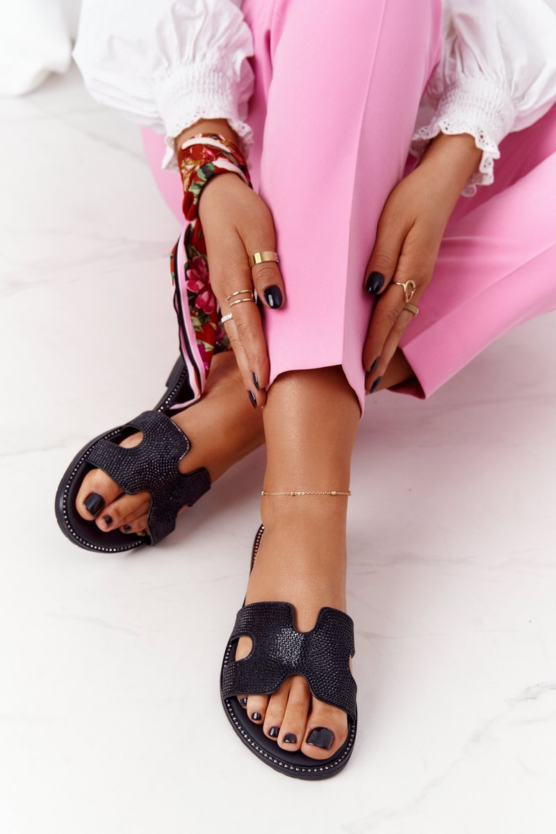 Leather Slippers With Cubic Zirconia Black Modena