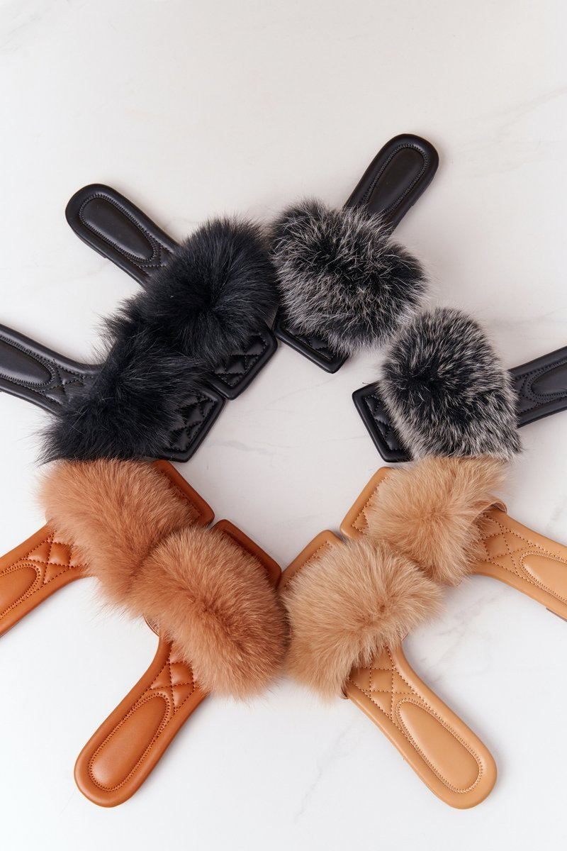 Leather Slippers With Eco Fur Beige Love You So