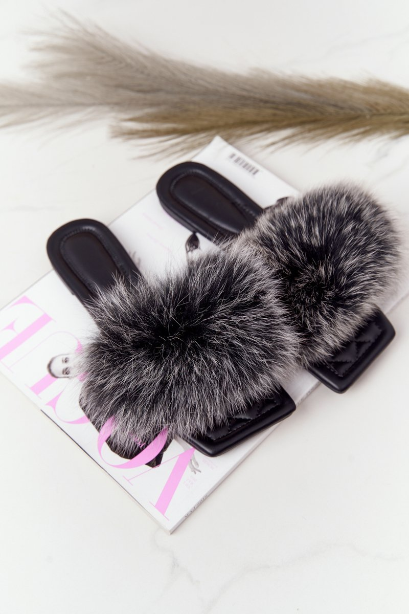Leather Slippers With Eco Fur Black-White Love You So