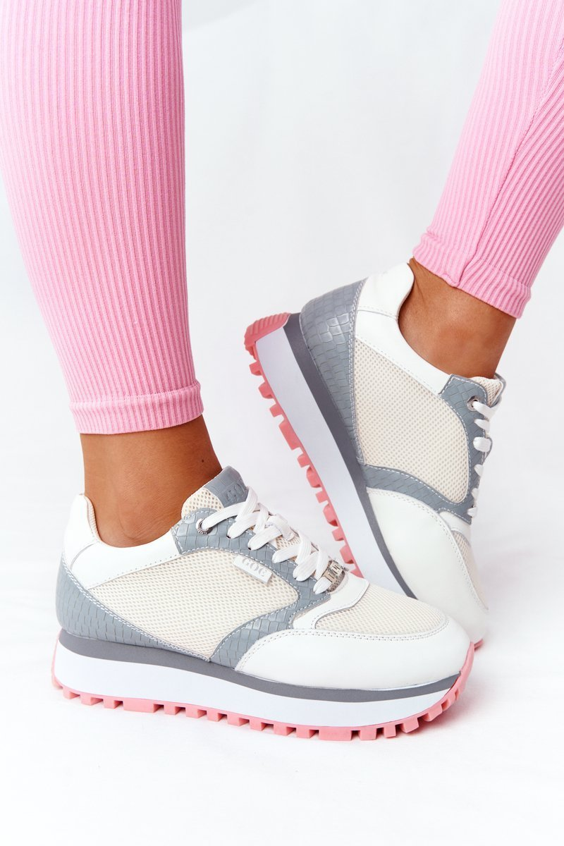 Leather Sport Shoes On A Platform GOE HH2N4008 White