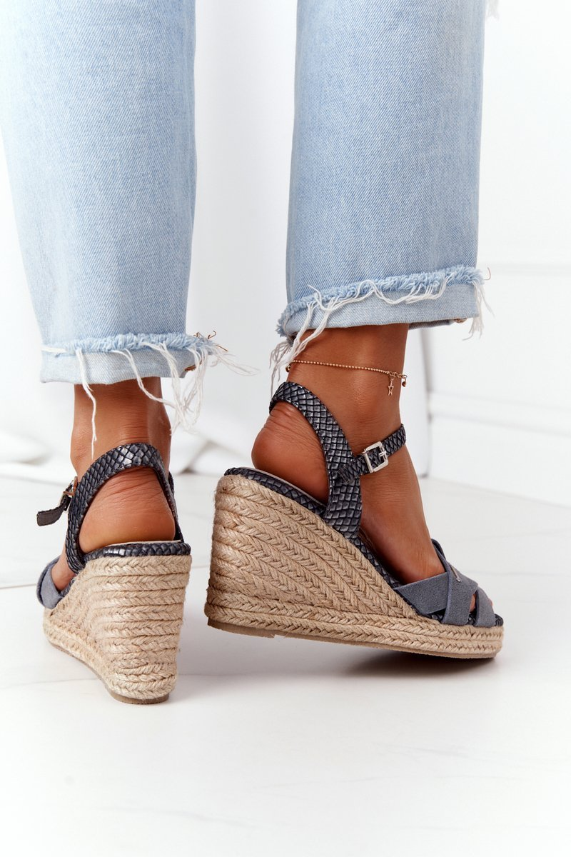 Leather Wedge Sandals Big Star HH274378 Silver