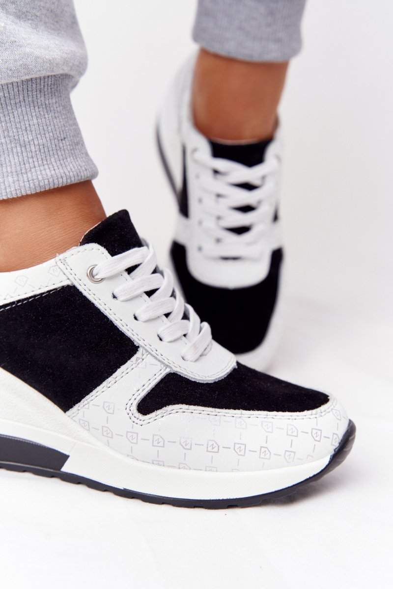 Leather Wedge Sneakers S.Barski Black-White