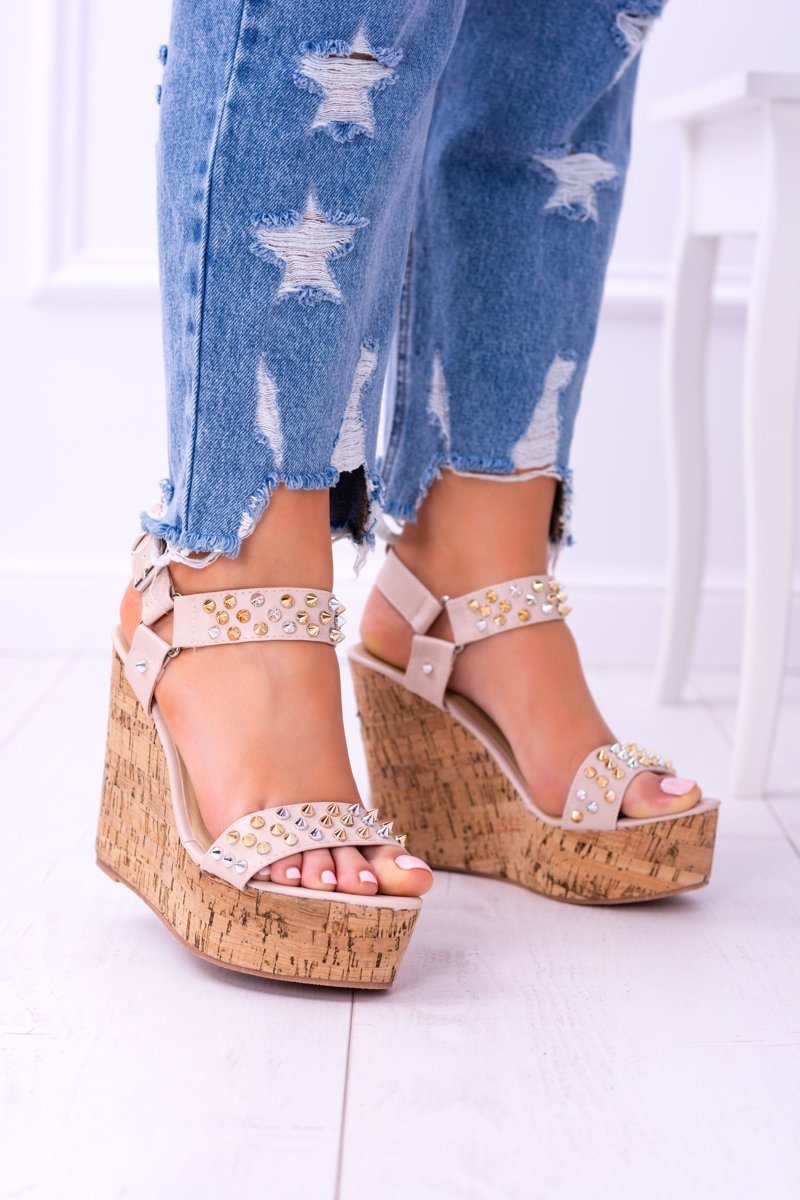 Lu Boo Beige Womens Sandals On Wedges Valeria