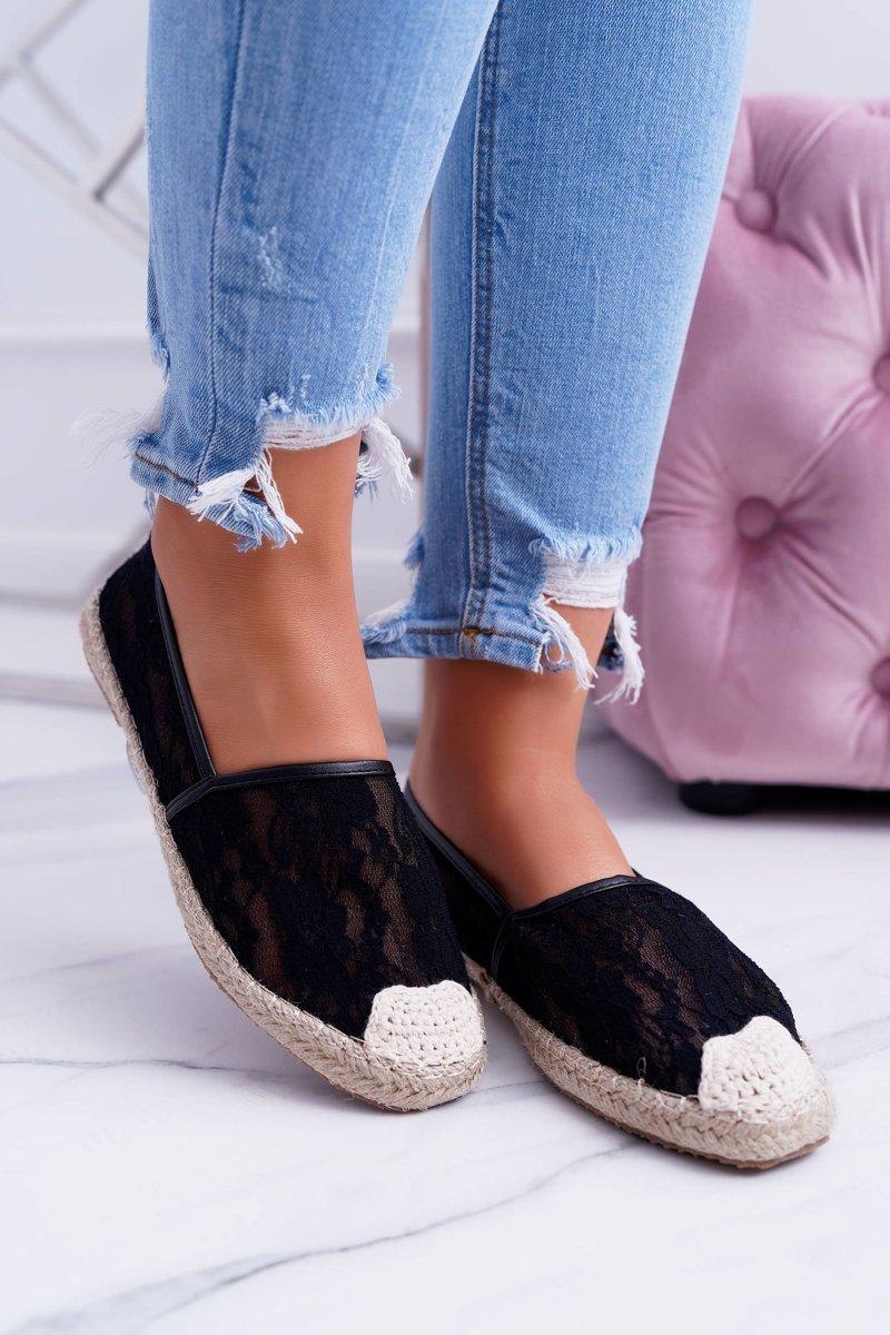 Lu Boo | Black Lace Espadrilles Hilary