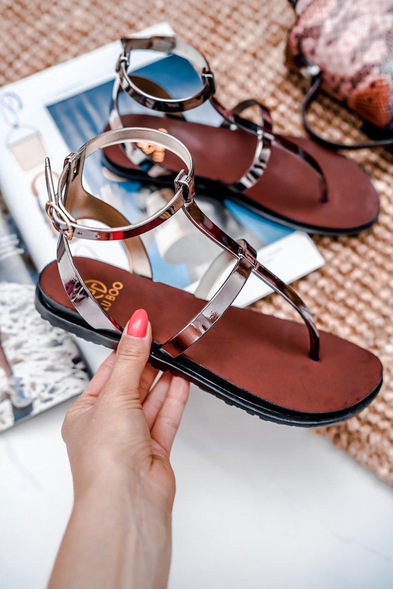 Lu Boo Black Mirrored Sandals Roman Flip-flops Lento