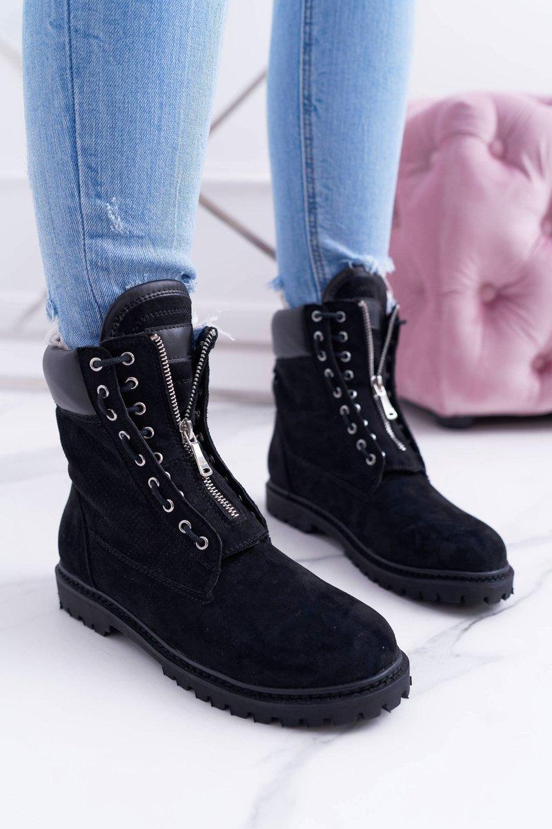 Lu Boo Black Suede Women's Boots Zipper Nancy