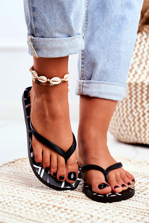 Lu Boo Black Women's Flip Flops Aztec Havanna