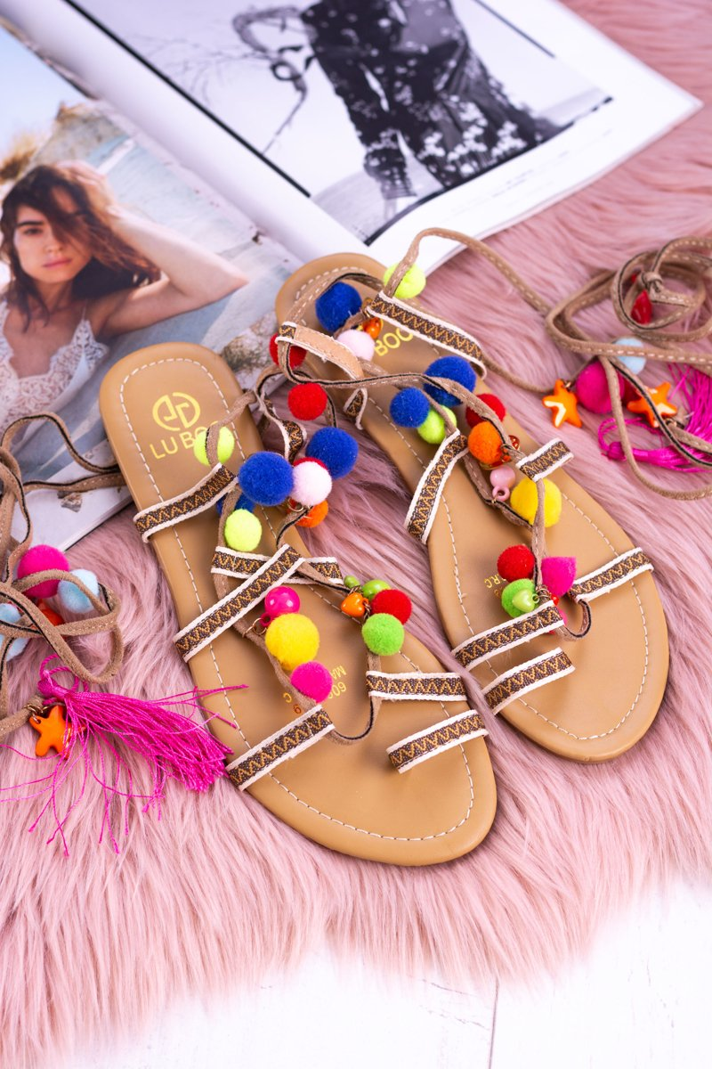 Lu Boo | Colorful Sandals Pompoms Gladiator