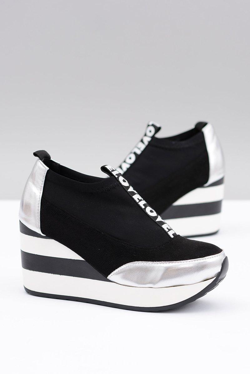 Lu Boo Czarne Sneakersy Na Koturnie Platforma Love Mitta