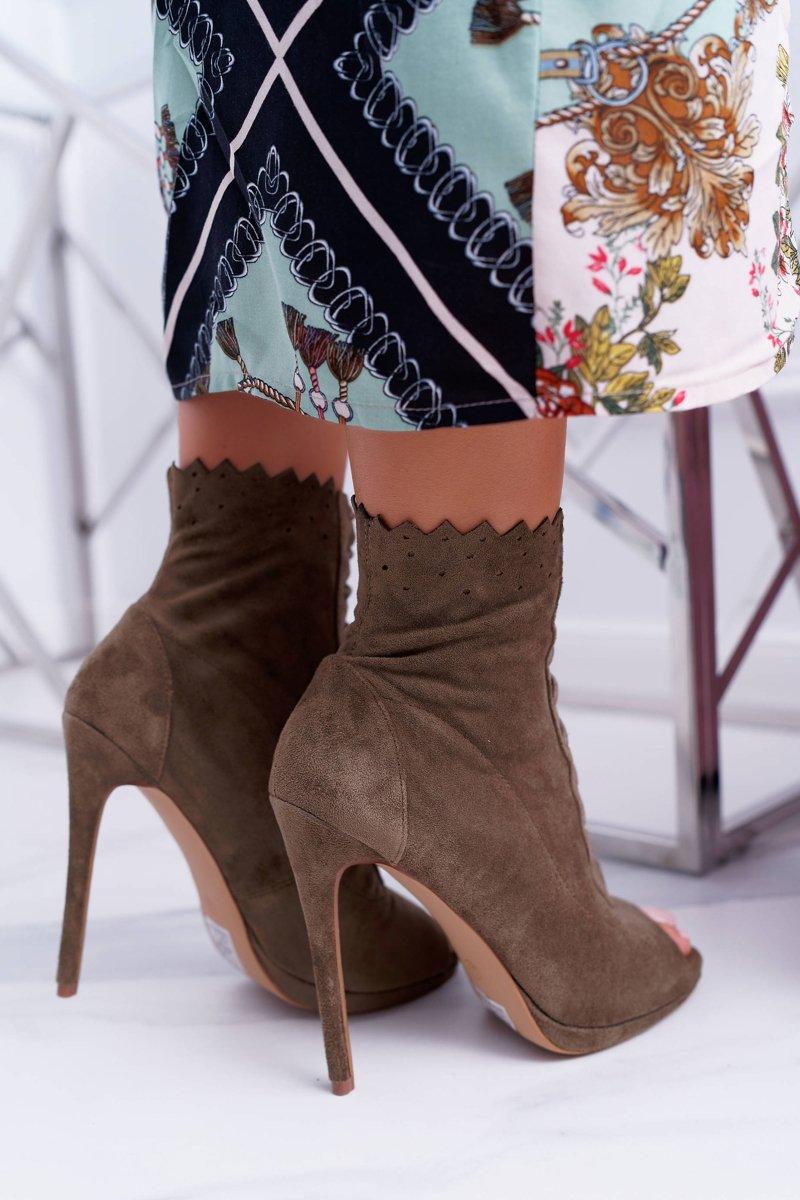 Lu Boo Laced Olive Booties Sandals On High Heels Natasha