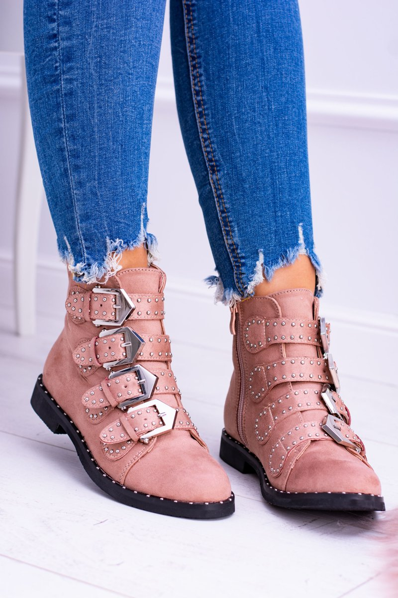 Lu Boo Pink Suede Ankle Boots Virginia Rock Star
