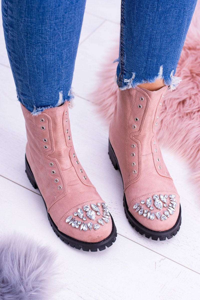Lu Boo Powder Pink Women's Ankle Boots with Zirconia Carrie