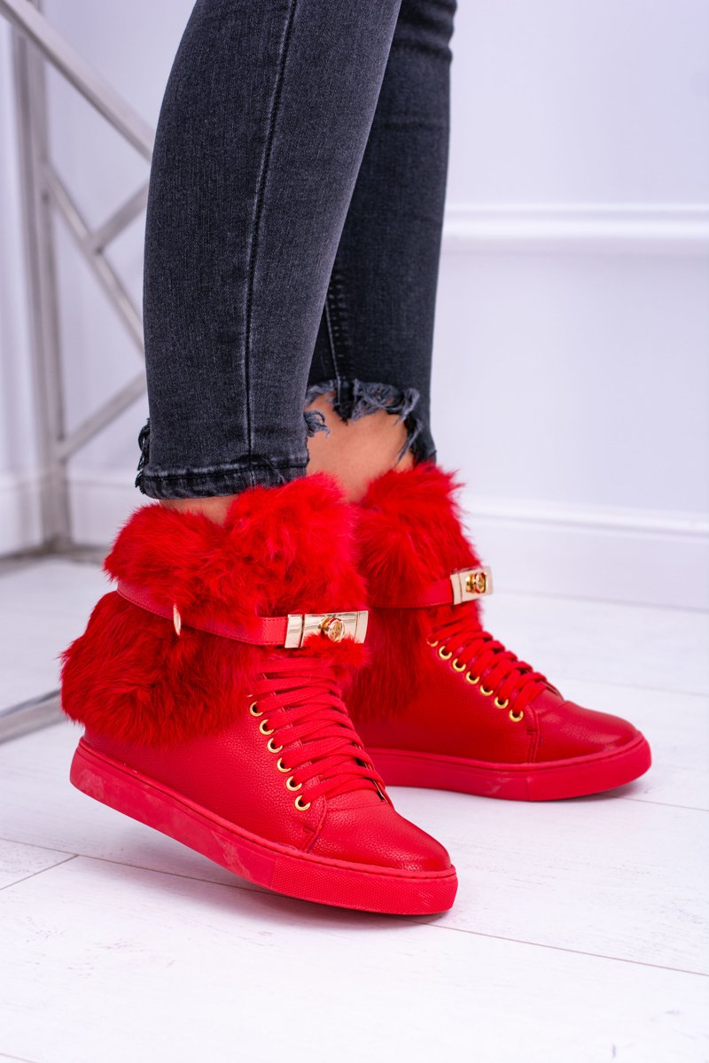 Lu Boo Red Women's Boots With Natural Fur Gisele