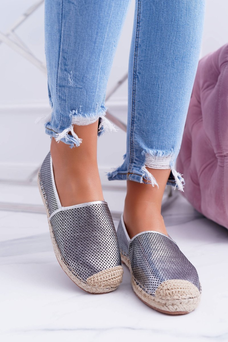 Lu Boo Silver Perforated Espadrilles Kimchi