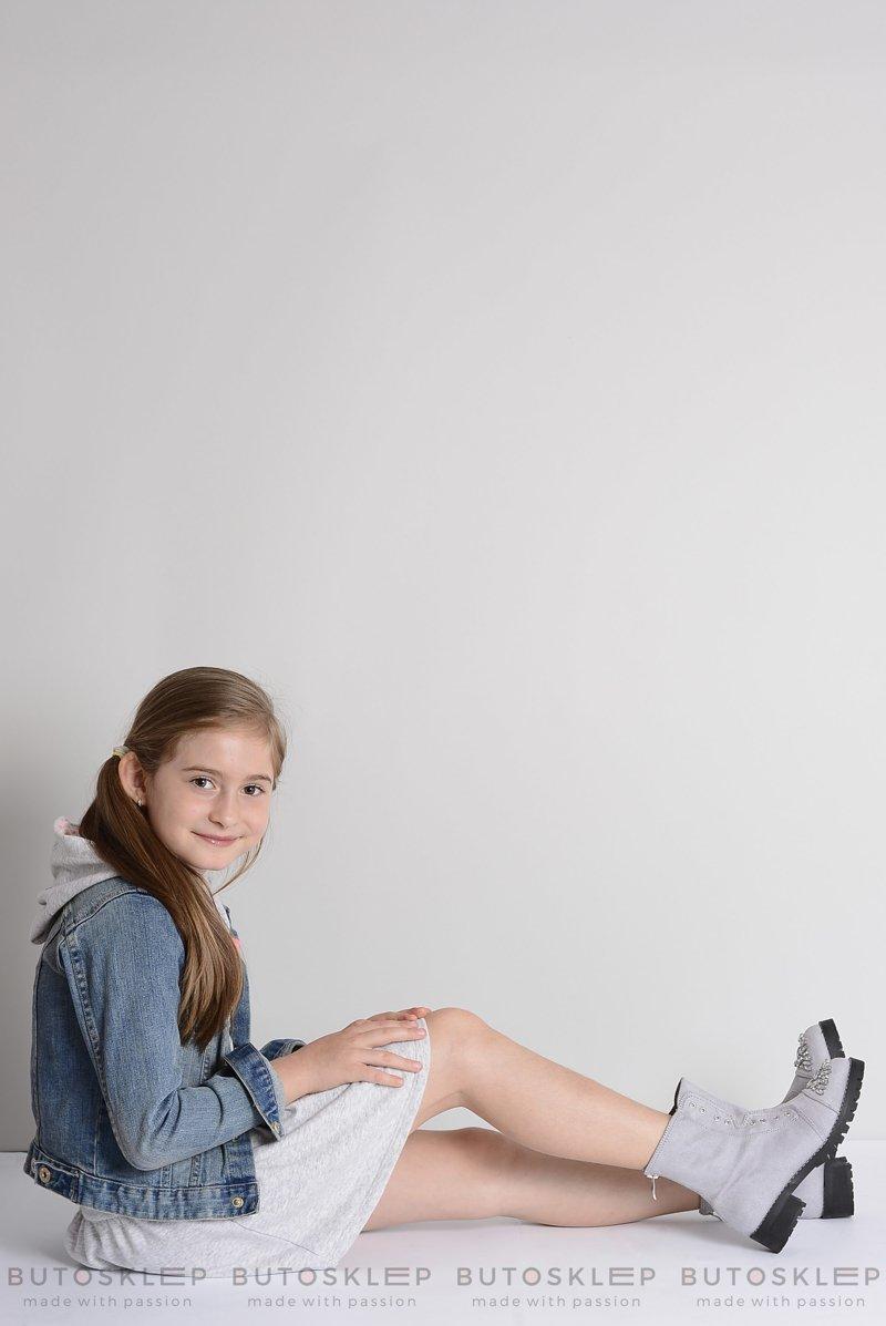 Lu Boo Szare Dziecięce Botki Za Kostkę z Cyrkoniami LittleCarrie