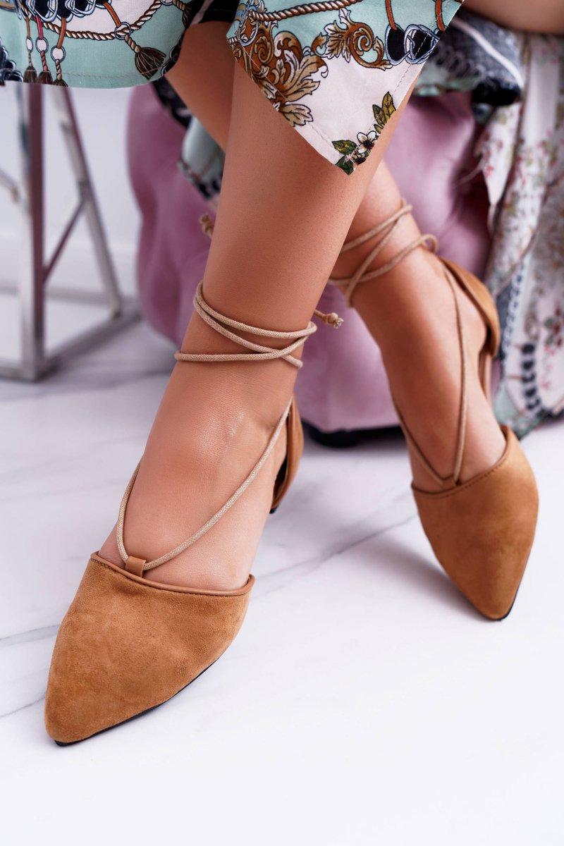 Lu Boo Tied Ballerinas Larissa Suede Camel