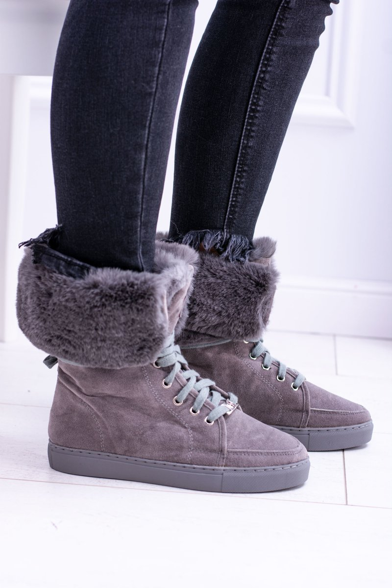 Lu Boo Warm Grey Suede Women's Boots With Fur
