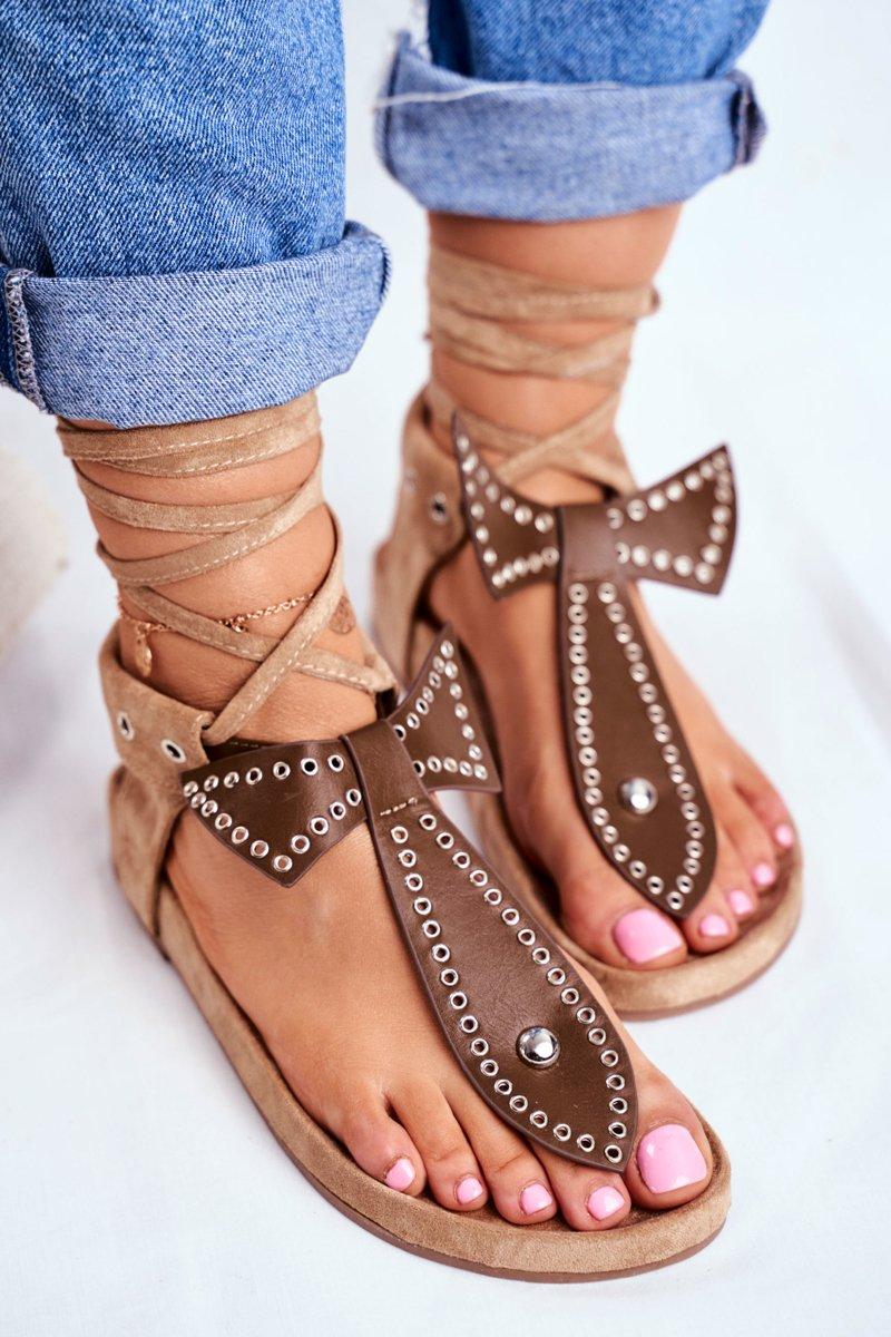 Lu Boo Women's Brown Tied Sandals Japanese Mara