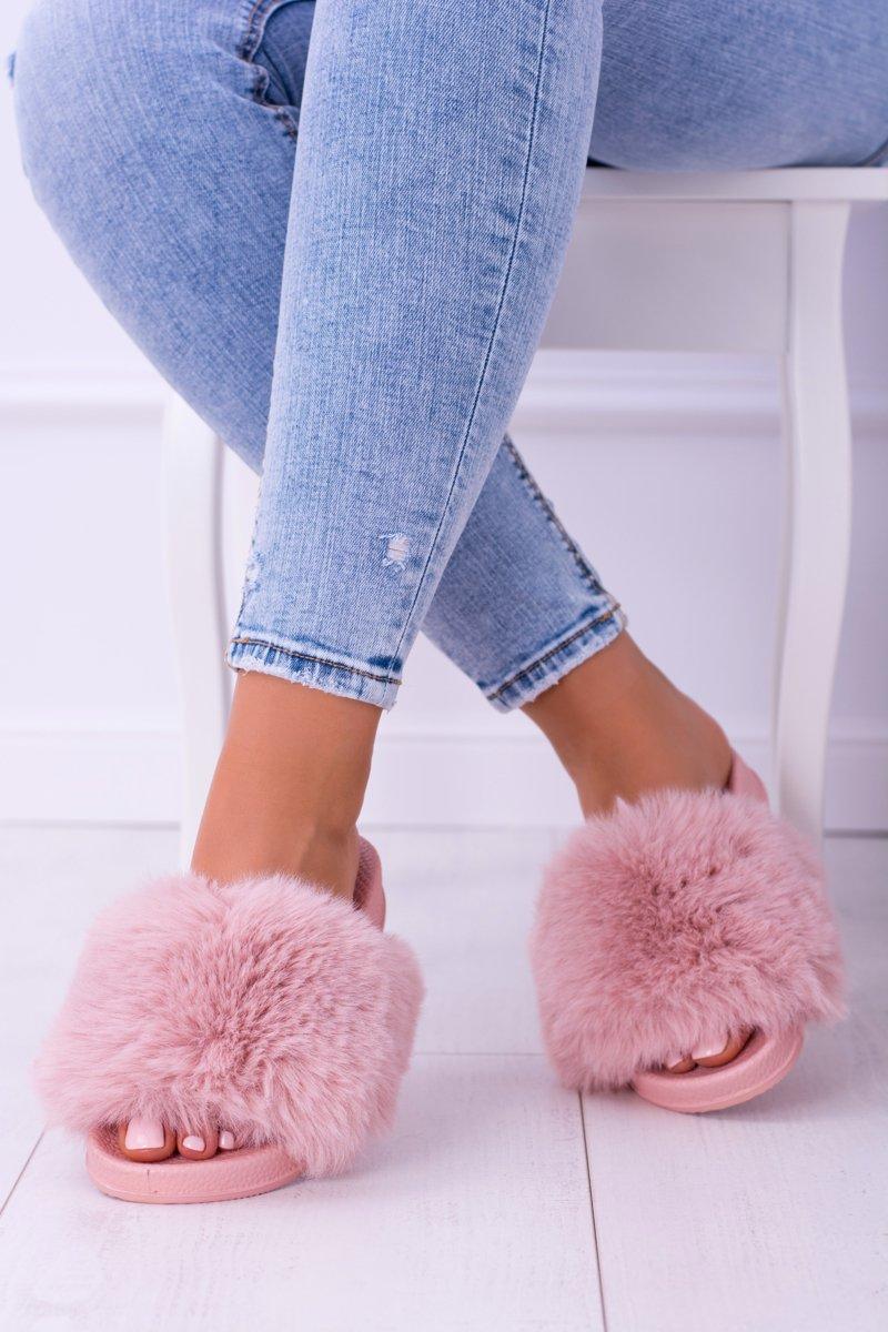 Lu Boo Women's Pink Slippers With Fur FUR XXL