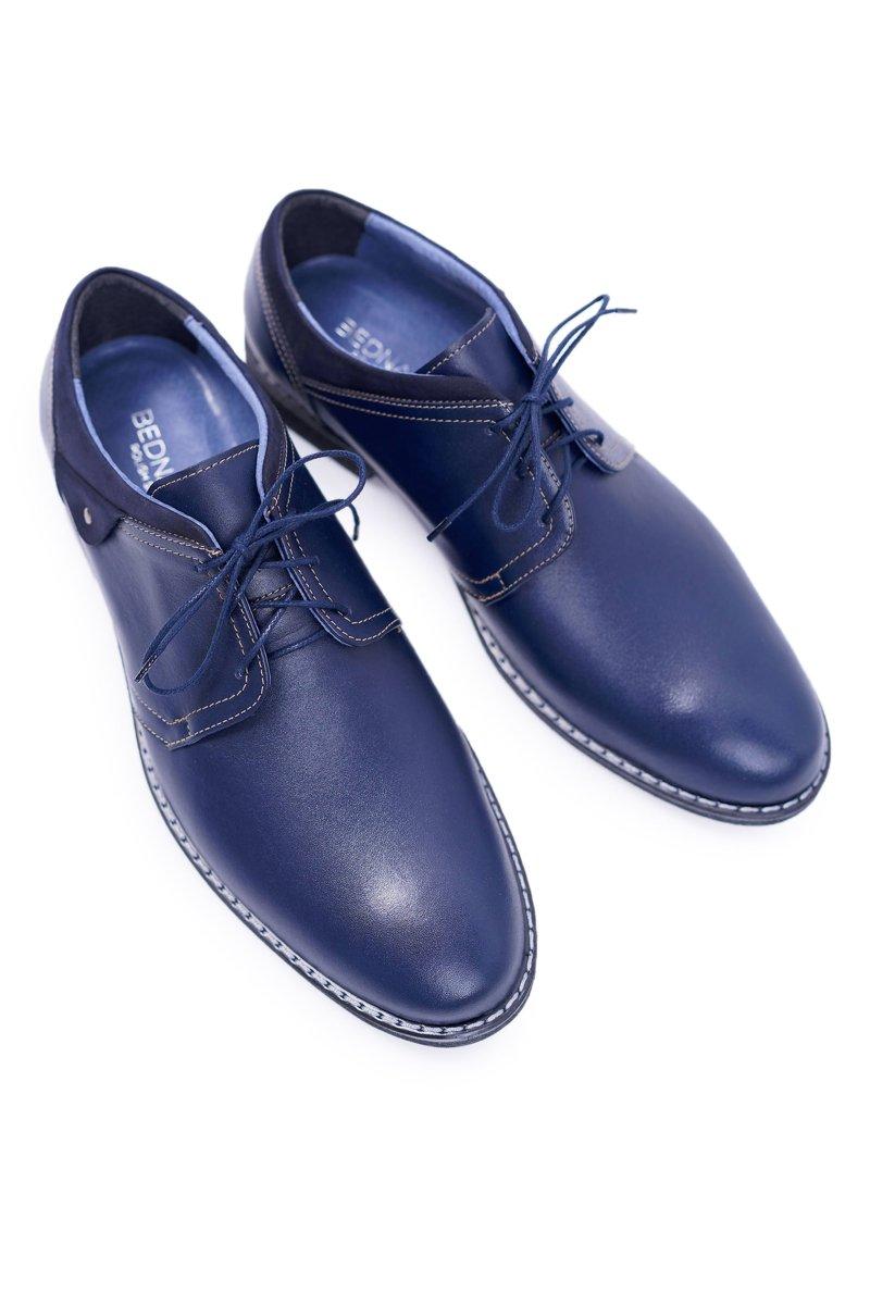 Men's Brogues Bednarek Elegant Leather Navy Blue Oliviero