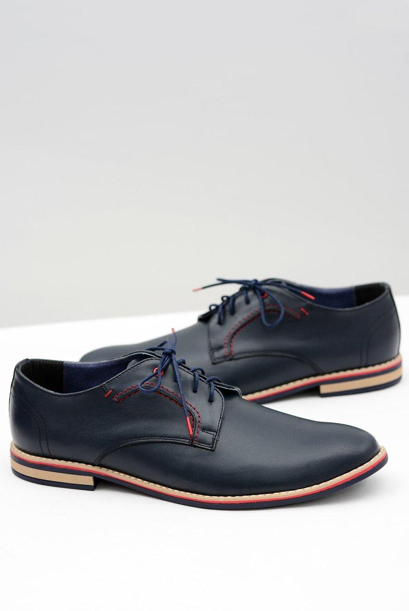 Men's Brogues Bednarek Elegant Leather Navy Blue Pietro