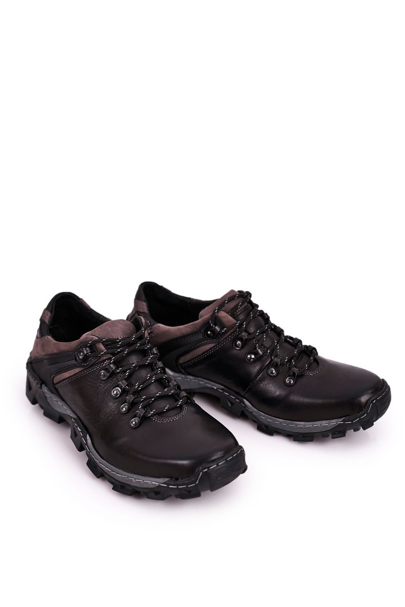 Men's Leather Trekking Shoes BEDNAREK Black