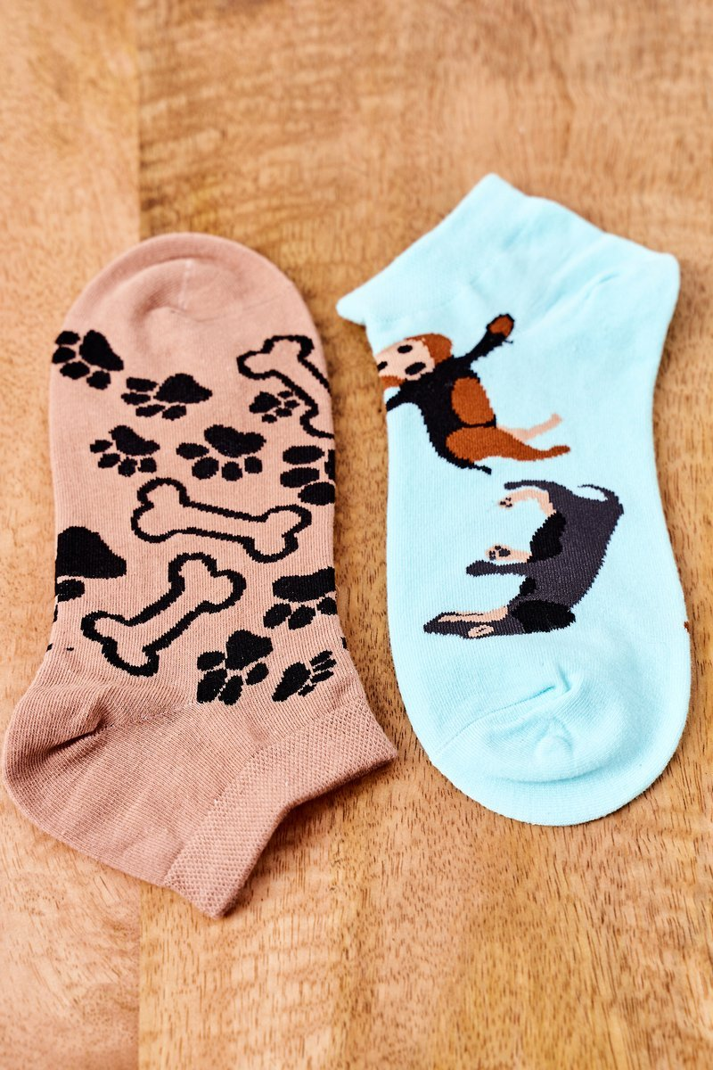 Mismatched Socks With Dogs Mint-Brown