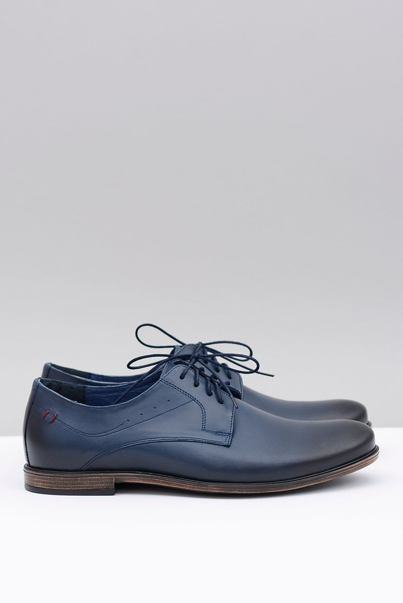 Nikopol Navy Blue Leather Brogues Mens Shoes James