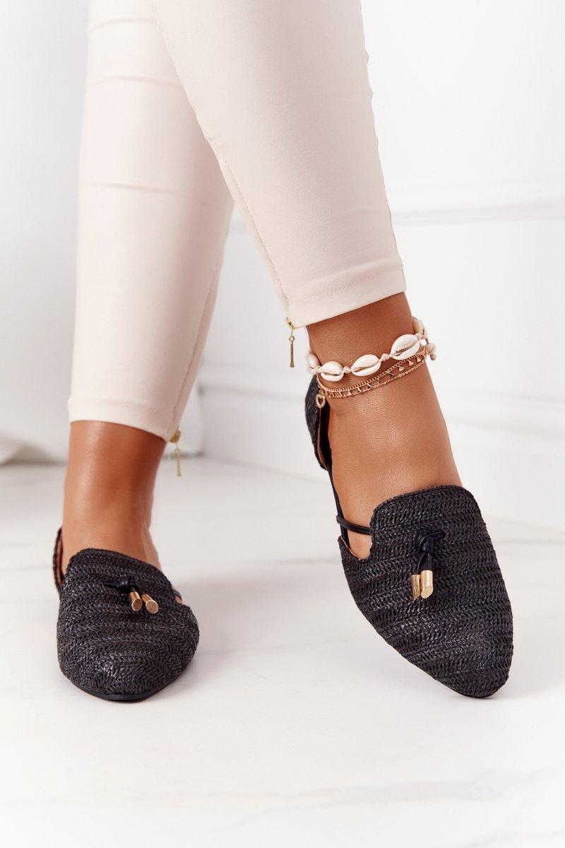 Pointed Toe Braided Ballerinas Lu Boo Black