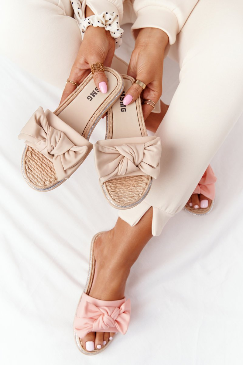 Rubber Slippers With A Bow Beige Andrea