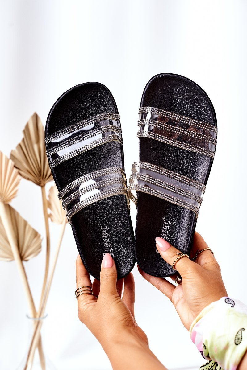 Rubber Slippers With Cubic Zirconia Black Miss You