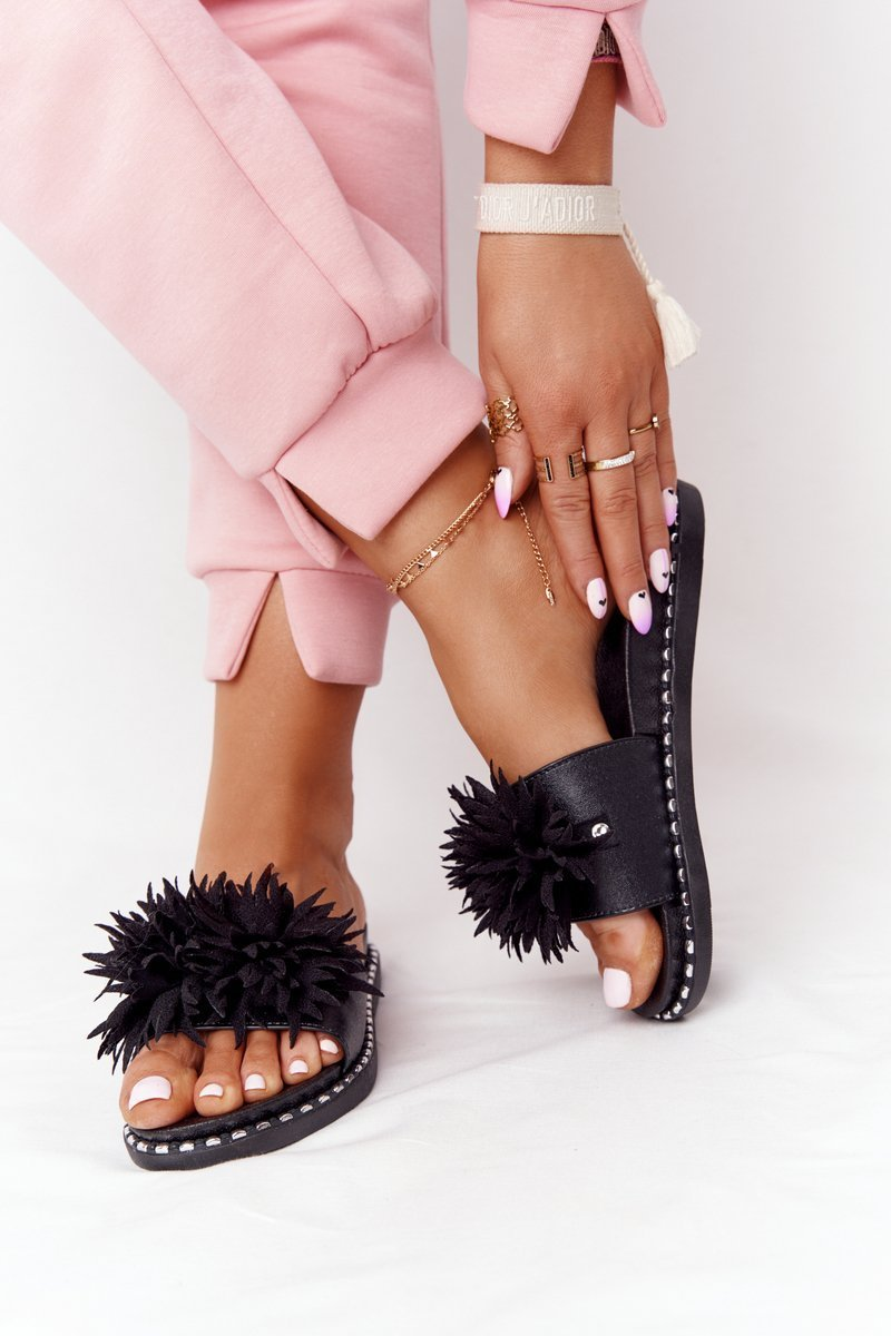 Rubber Slippers With Rhinestones Vinceza 20-30101 Black
