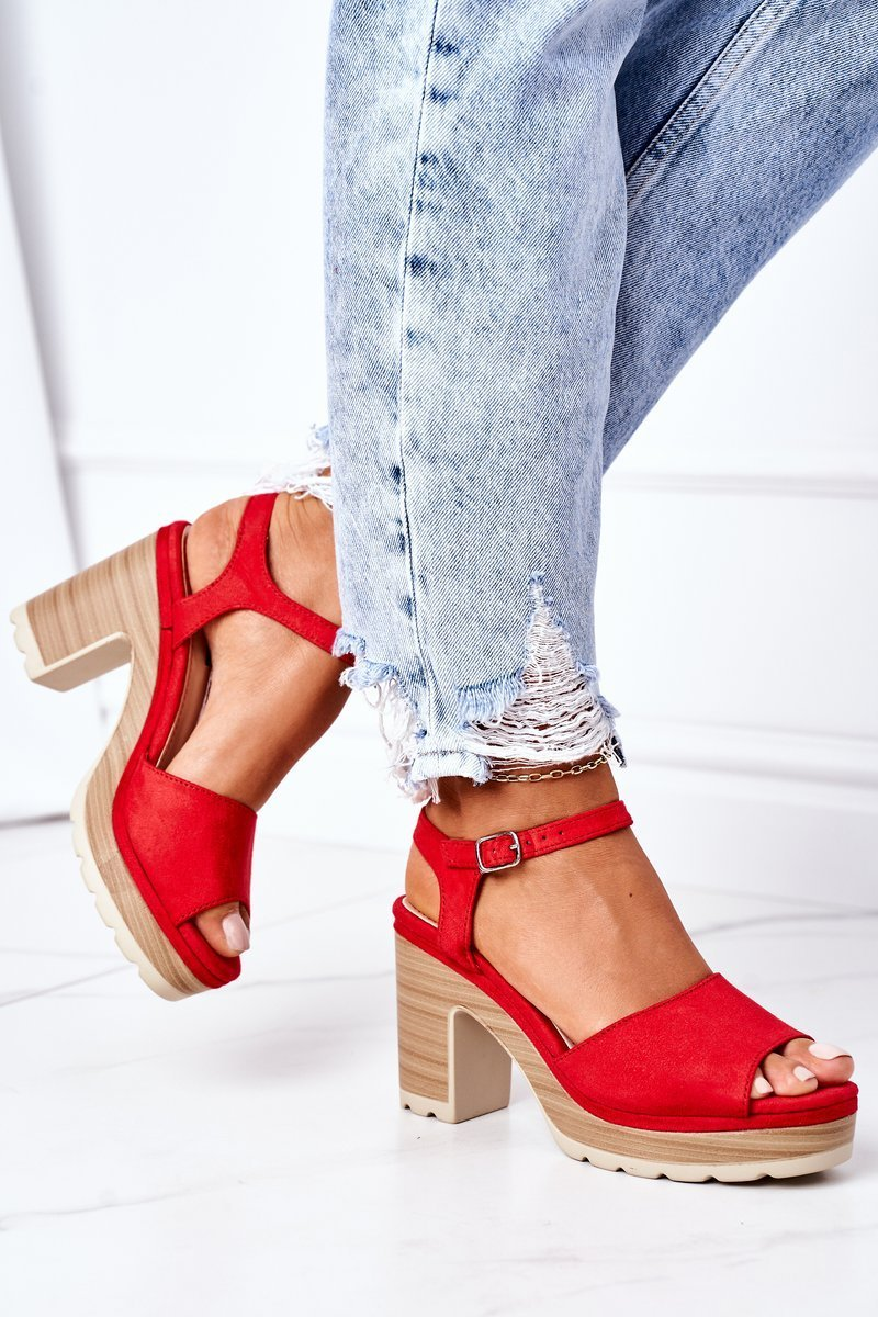 Sandals On A Block Heel And A Platform Red Maggie