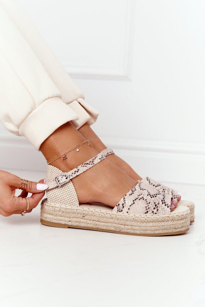 Sandals On A Braided Platform Beige Snake Pattern Megara