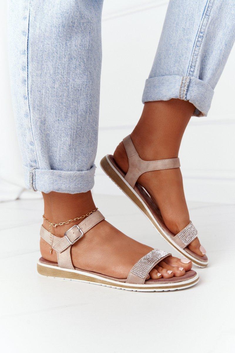 Sandals With Cubic Zirconia S.Barski 701-18 Beige