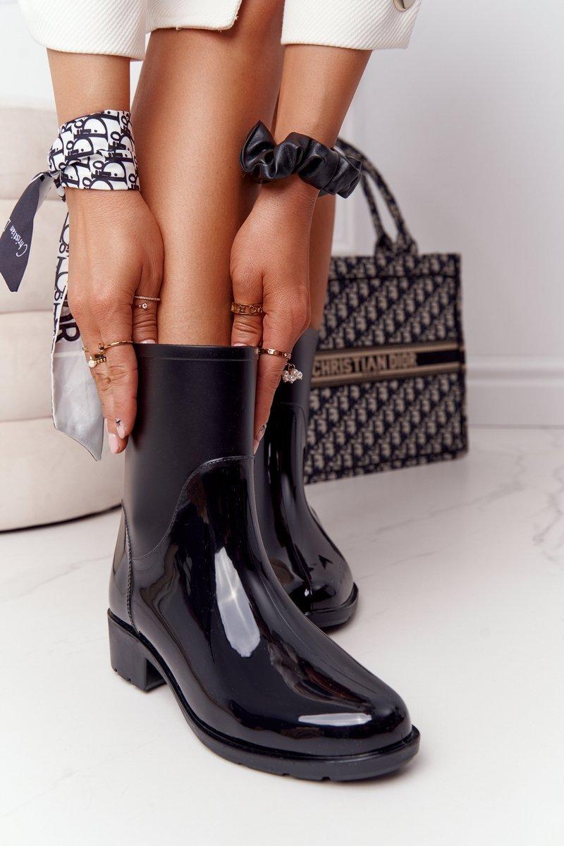 Shiny Rubber Boots Galoshes Black Rainy Day