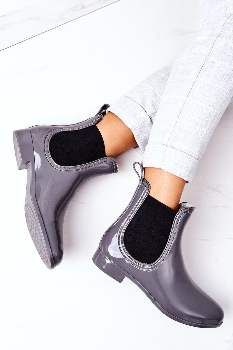 Shiny Rubber Boots Galoshes Grey Umbrella