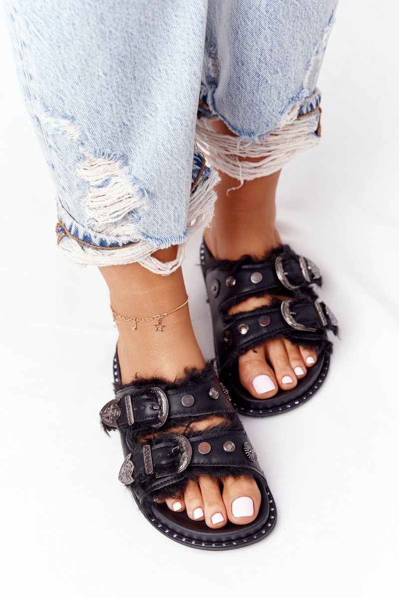 Slippers With Clasps And Fur Black Lydia