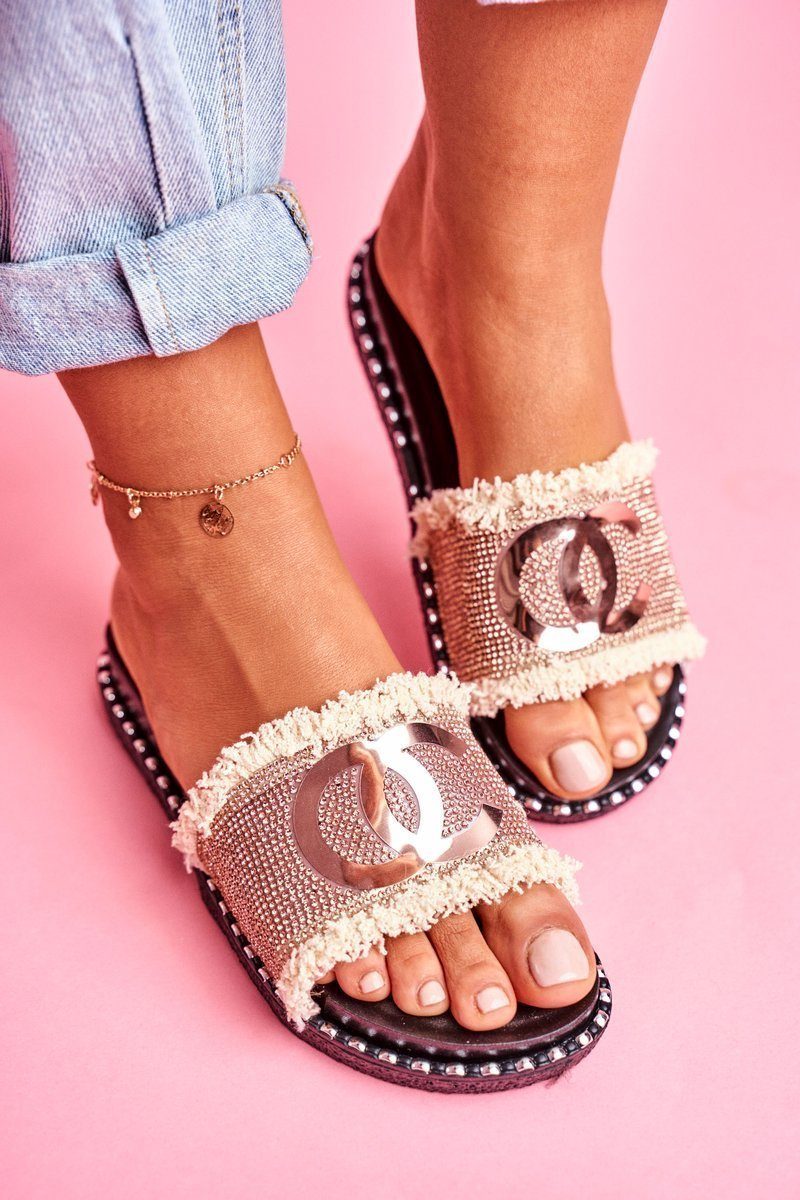 Slippers With Crystals On The Platform Champagne Candy Man