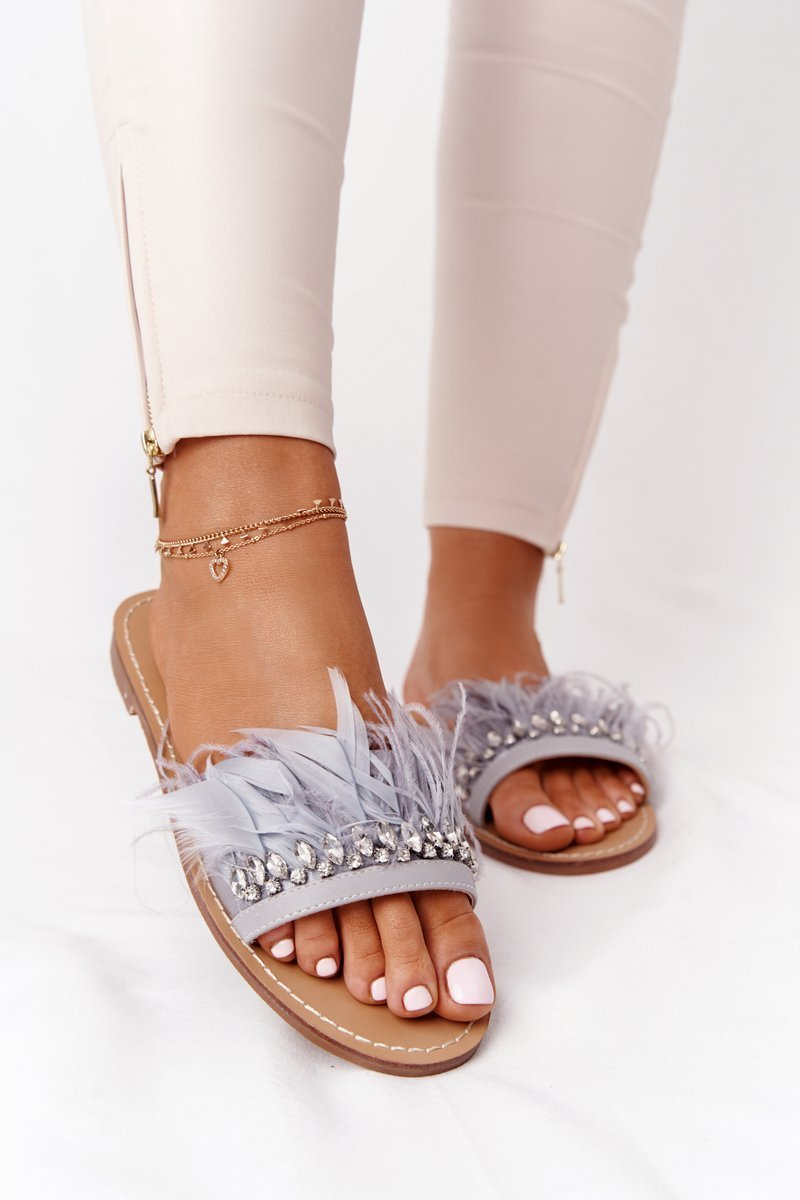 Slippers With Feathers Lu Boo Grey