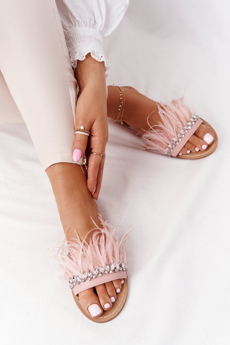 Slippers With Feathers Lu Boo Pink