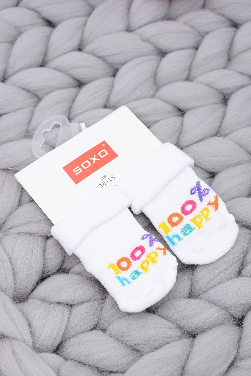 Soxo Baby Socks White 100% Happy
